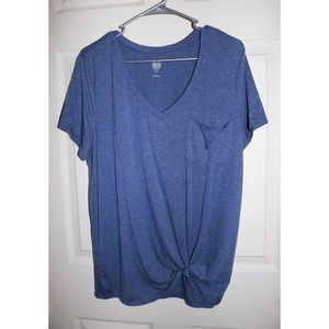 SO v neck side tie tee